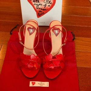 Authentic red Valentino Heels with Hearts